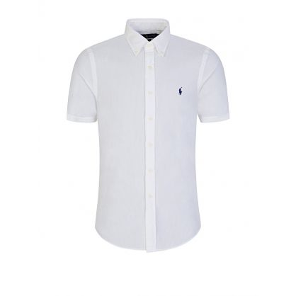 White Slim Fit Pebbled Cotton Shirt