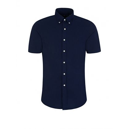 Navy Slim Fit Pebbled Cotton Shirt