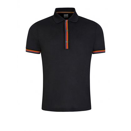 Charcoal Colour-Block Trim Polo Shirt