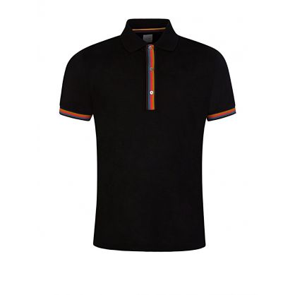Black Colour-Block Trim Polo Shirt