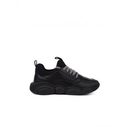 Black Wide Fit Teddy Trainers