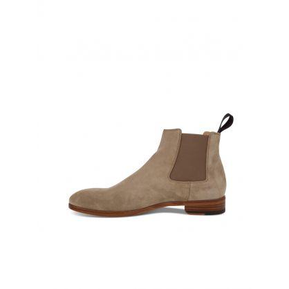 Beige Crown Suede Chelsea Boots