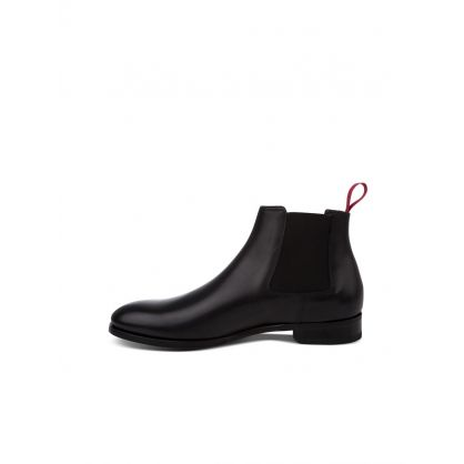 Black Crown Leather Chelsea Boots