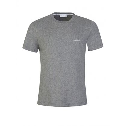 Grey Cotton Chest Logo T-Shirt