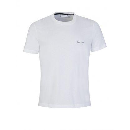 White Cotton Chest Logo T-Shirt