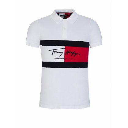 White Slim-Fit Autograph Flag Polo Shirt