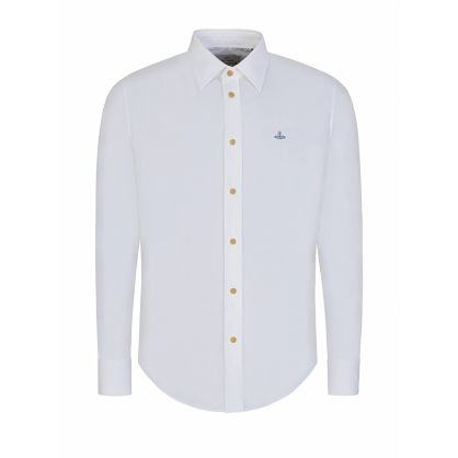 White Slim-Fit Organic Poplin Shirt