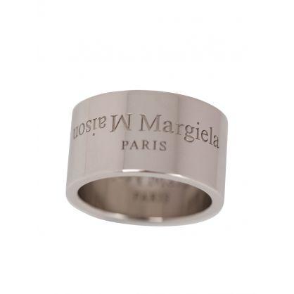 Silver Engraved Logo Ring