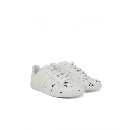 White Grainy Leather Replica Trainers