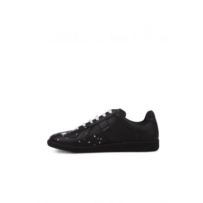 Black Grainy Leather Replica Trainers