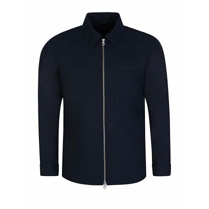 Navy Jason Zip Linen Overshirt