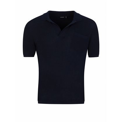 J.Lindeberg Navy Knitted Polo Shirt