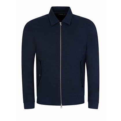 Navy Jacob Zip Cotton Sweatshirt