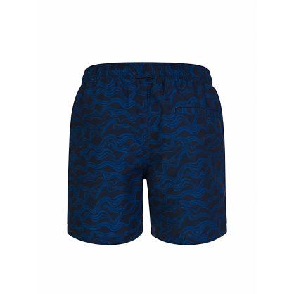 Navy Banks Pattern Swim Shorts