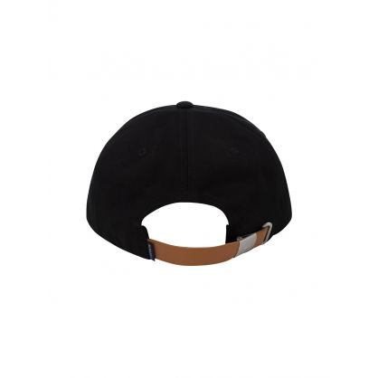 Black Contrast Strap Cotton Cap