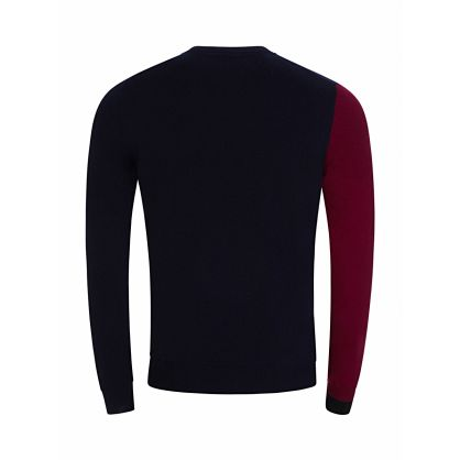 Navy Cashmere Colour-Block Jumper