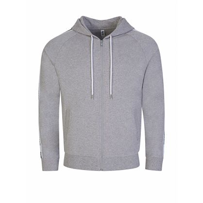Grey Tape Logo Zip-Through Hoodie