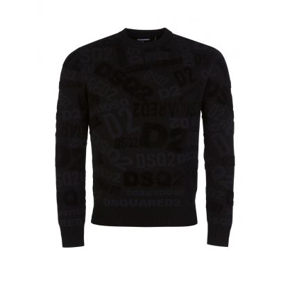 Black All-Over Logo Pullover