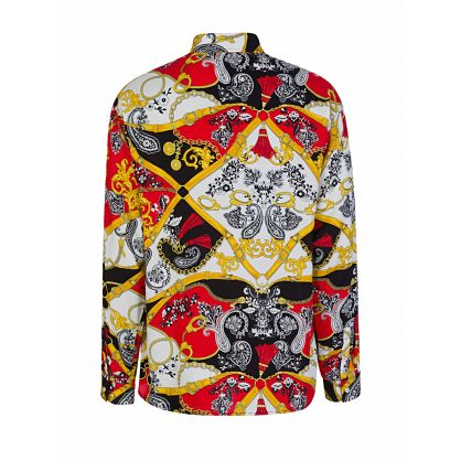 Red Paisley Fantasy Print Shirt