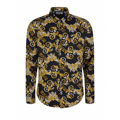 Black Slim-Fit All-Over Print Shirt
