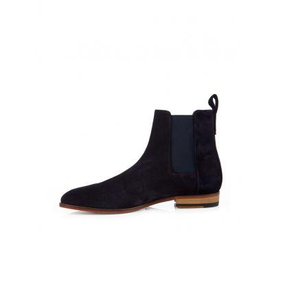 Dark Navy Chelsea Suede Boots