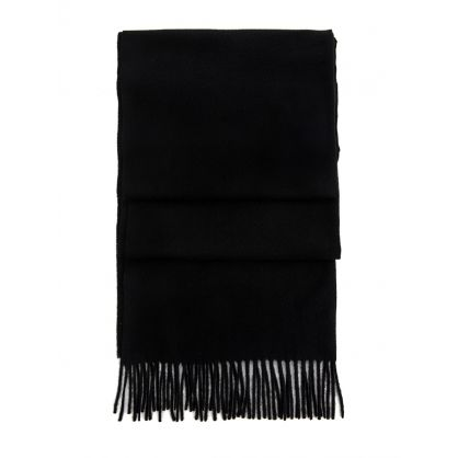 Black Solid Wool Scarf