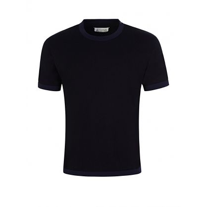 Navy Gauge Short Sleeve Jumper