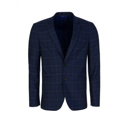 Blue Check Slim Fit Jacket