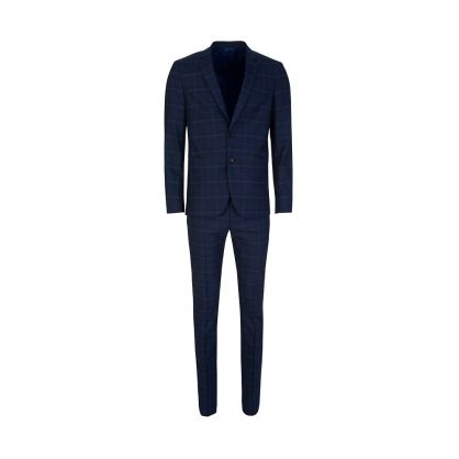 Blue Check Slim Fit Tailored Trousers