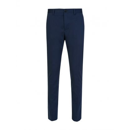 Blue Slim Fit Cotton Trousers