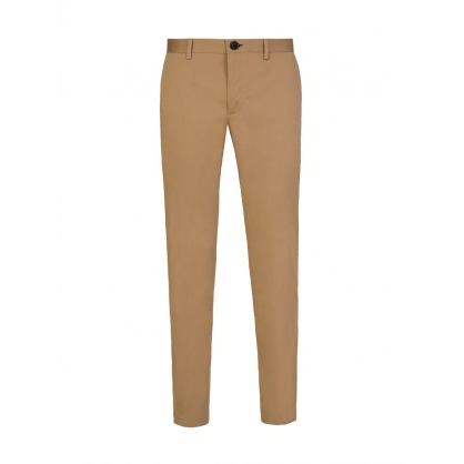 Tan Slim Fit Cotton Trousers
