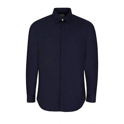 Navy Cotton Slim Shirt