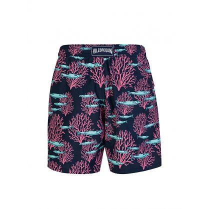 Blue Marine Print Swim Shorts