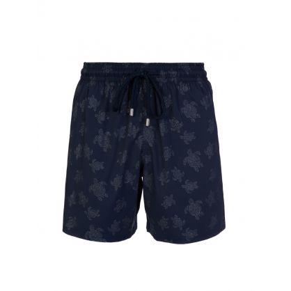 Blue Turtle Print Swim Shorts