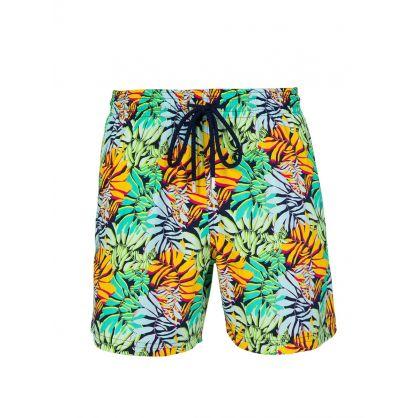 Green Stretch Jungle Swim Shorts