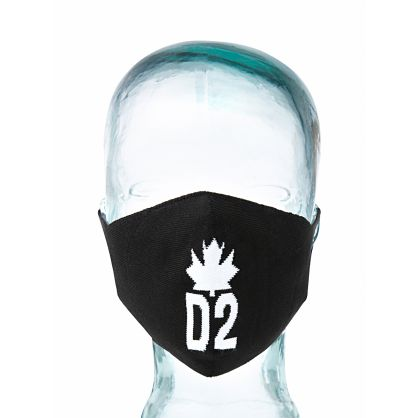 Kids Black D2 Maple Leaf Face Mask