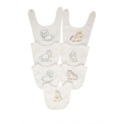 White 7-Piece Horses Baby Bib Set