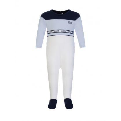White/Blue Baby Pyjamas & Bib Set