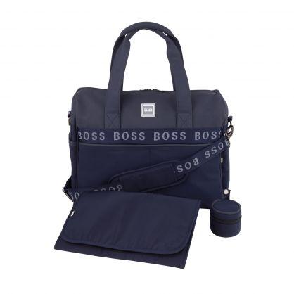 Navy Logo-Tape Baby Changing Bag