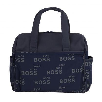 Navy Logo-Print Baby Changing Bag
