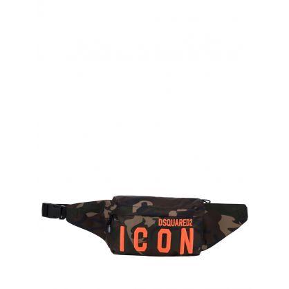 Kids Green Camo-Print ICON Waist Bag