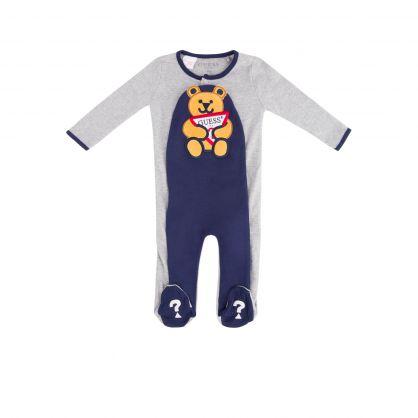 Kids Light Grey/Navy Cotton Babygrow Gift Set