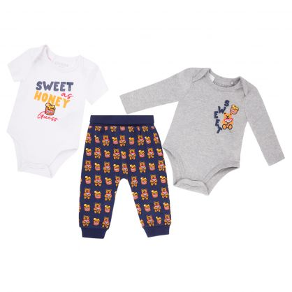 Kids White/Grey 3-Piece Grizzly Bear Babygrow & Trousers Gift Set