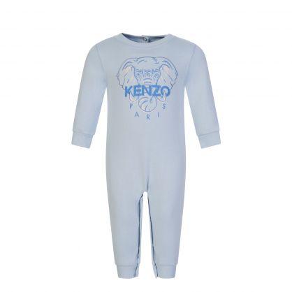Blue All in One Elephant Babygrow