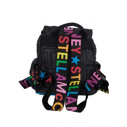 Black Logo Quilted Backpack