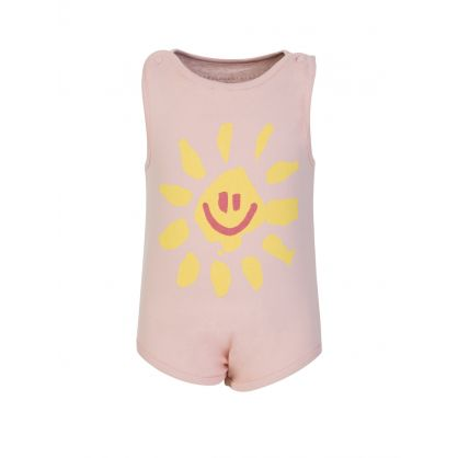 Pink Happy Sun Babygrow & Vest Set