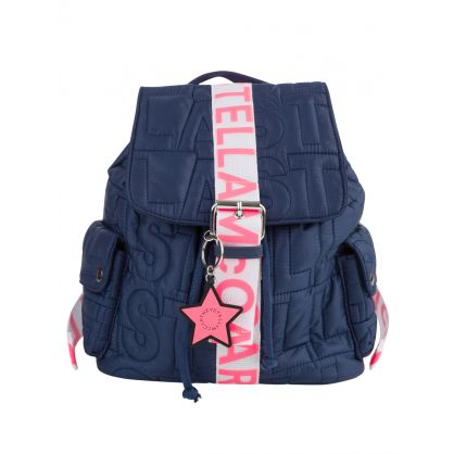 Navy Logo Quilted Small Backpack