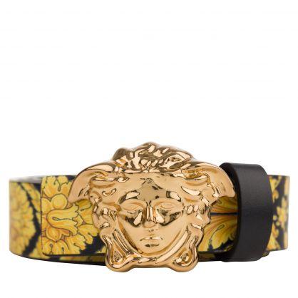 Black/Gold Baroque-Print Medusa Belt