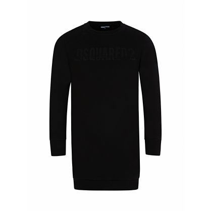 Kids Black Sequin Logo Sweatshirt Dress