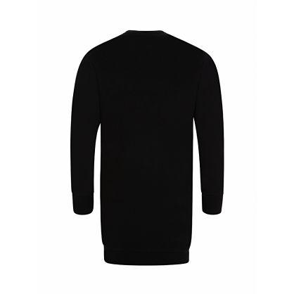 Kids Black Sequin Logo Sweatshirt Dress
